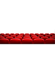 Rows of red cinema or theater seats in front of vector image vector image