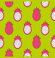 seamless fruit pattern dragon fruit green vector image vector image