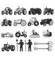 set of farmers market design elements tractor vector image