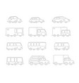 set of line drawing different cartoon transparent vector image vector image
