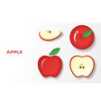 set of red apples in paper art style vector image