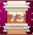 seventy three years anniversary celebration design vector image vector image