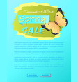 spring sale poster discount -45 colorful butterfly vector image vector image
