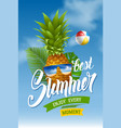 summer concept with pineapple in sunglasses vector image vector image