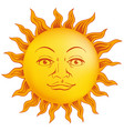 sun of yellow color in vintage style face vector image vector image