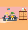 two kids sitting on sofa vector image vector image