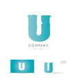 u blue letter alphabet logo icon design vector image vector image