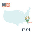 usa map with orlando pin travel concept vector image vector image