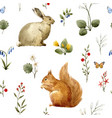 watercolor forest animal pattern vector image vector image