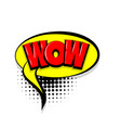 wow comic text white background vector image vector image