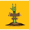 Zombie hand shows rock n roll gesture vector image vector image