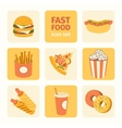 icon set fast food vector image