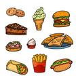 pop art style fast food set vector image