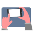 Hand touching blank screen vector image