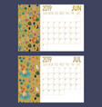2019 new year calendar sheet with forest vector image vector image