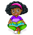 A Black young girl reading vector image vector image