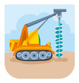 a cartoon construction drill drills something at vector image vector image