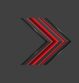 abstract red light arrow direction on dark vector image vector image