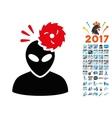 Alien Exploration Icon with 2017 Year Bonus vector image vector image