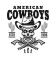 american cowboy emblem with skull in hat vector image vector image