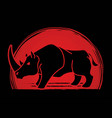 angry rhino cartoon graphic vector image vector image