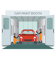 auto mechanic worker painting new car at car vector image vector image