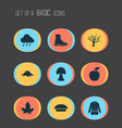 autumn icons set with maple boot rain and other vector image