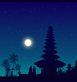 bali temple silhouette night sky background vector image vector image