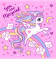 beautiful unicorn with a rainbow on a pink vector image