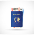 blue passport with airline tickets vector image vector image