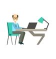 Bold Man In Glassins At His Working Desk vector image vector image