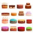 cake birthday icon set cartoon style vector image vector image
