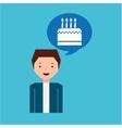 cartoon man cake and candles dessert design icon vector image