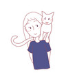 cat sit on girl shoulder vector image