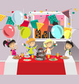 child s birthday party with dessert vector image vector image