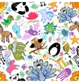 children drawings seamless pattern with animals vector image