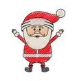 color crayon stripe cartoon of santa claus happy vector image vector image