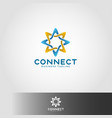 connection - linked star line logo template vector image vector image