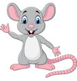 cute mouse cartoon waving hand vector image vector image
