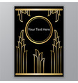 elegant floral golden black page template leafs vector image