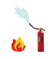 flat fire flames fire extinguisher icon vector image