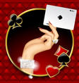hand of woman with jewelry holding ace playing vector image vector image