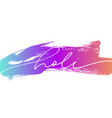 happy holi lettering on colorful brush stroke vector image