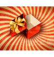 Holiday background with red gift ribbon with open vector image vector image