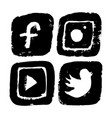 icons for social networking in grunge vector image vector image