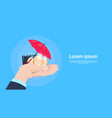 insurance service protection concept hand hold vector image