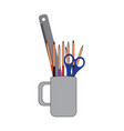isolated mug with pencils a scissor and a ruler vector image