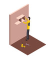 isometric worker home repair isometric form with vector image