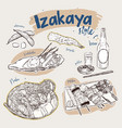 japanese food elements izakaya style hand draw vector image