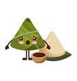 kawaii surprised rice dumpling with sauce cartoon vector image